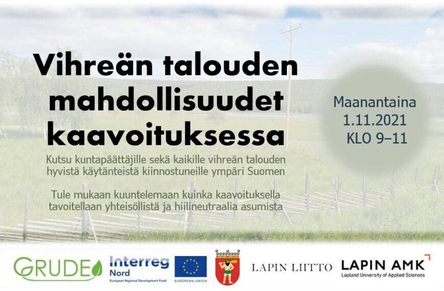 Vihreän talouden mahdollisuudet kaavoituksessa 1/11/2021